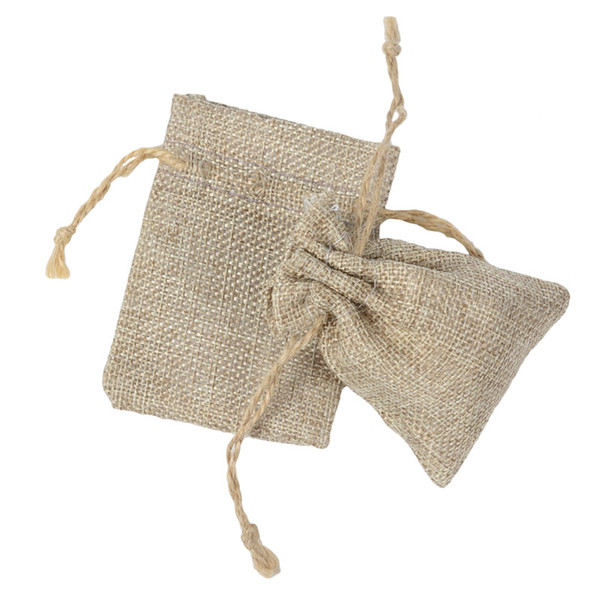 top popular 7*9cm Double layer high quanlity Natural Linen drawstring bags Jewelry Pouch Gift hessian Wedding favor bags Jute bags burlap package 2020