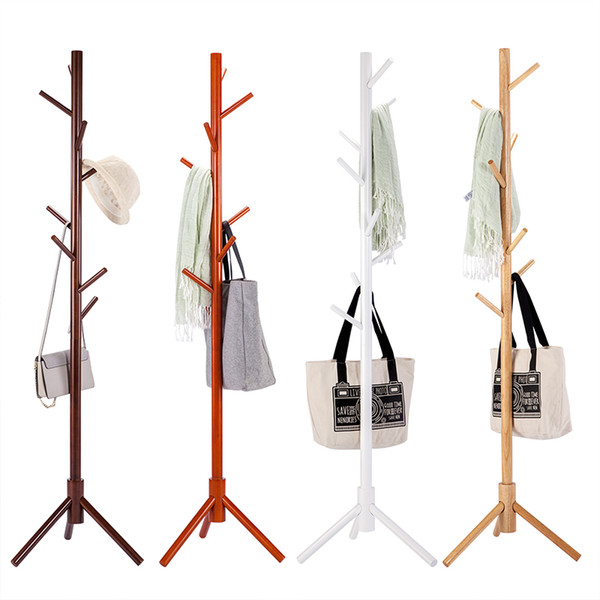 Solid Wood Coat Rack Tripod Stand Rack Tree Living Room Coat Hanger Bedroom Floor hangers Clothes Rack Indoor Hanger