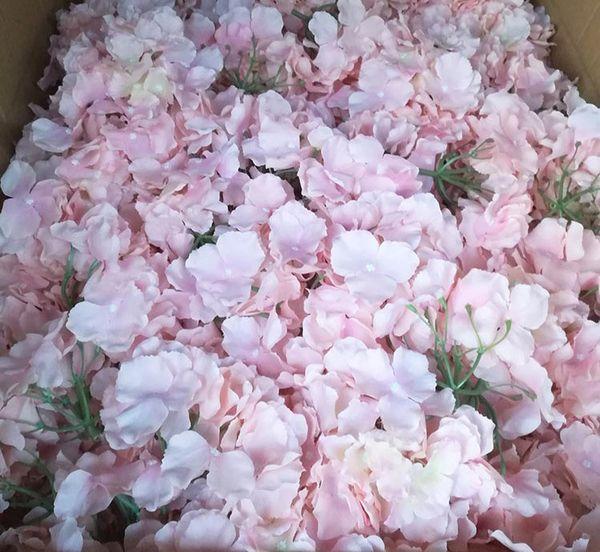 30 unids / lote 18 cm hortensia cabeza de flor festival de boda fondo de celebración camino led flor DIY artificial decorativo