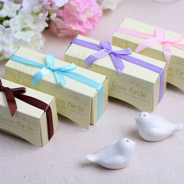 Free Shipping Cute Love Bird Salt and Pepper Shaker Perfect Wedding Favors Gifts 2PCS/ SET 5 Colors