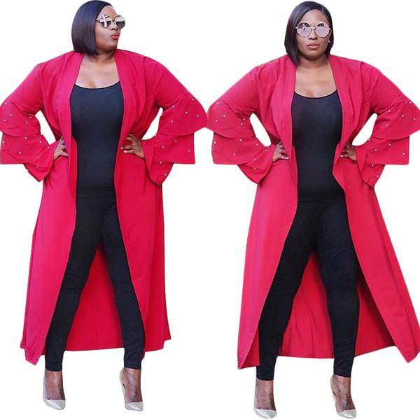 Perlen Strickjacken Umhänge 2018 Winter Frauen rot dreischichtige Cascade gekräuselte langärmelige lose lange Trenchcoat lässige Mode Outwear