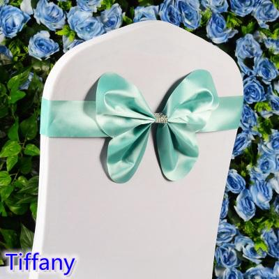 Tiffany colour chair sash wedding mini style butterfly bow tie lycra band stretch bow tie ribbon for chair covers on sale