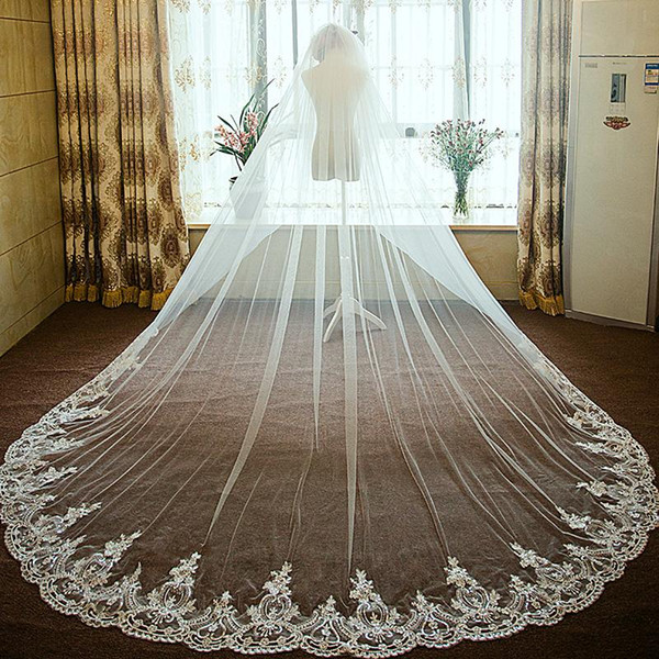 New Arrival White Bridal Veils Netting Lace Cathedral Length 3.5m One Layer Applique Wedding Wraps Free Shipping