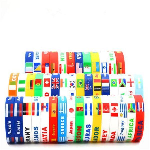 top popular 53 Country Flag 2018 World Cup Flag Logo 20cm Sport Wristband Football Fans Silicone Elastic Wrist Band ID Bracelet Souvenir Gift 2021