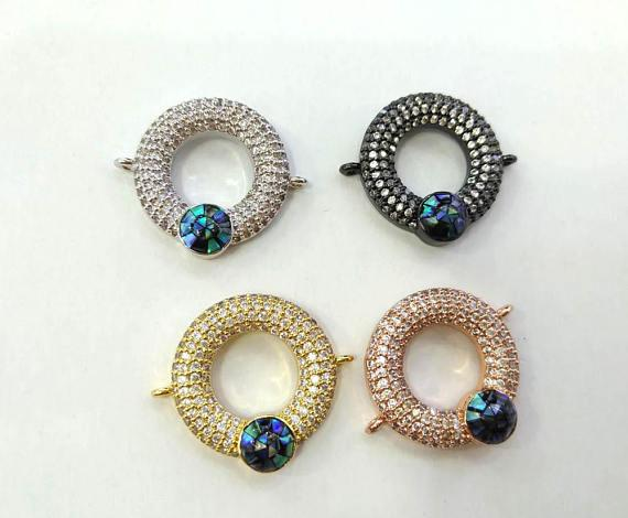 best selling 2pcs CZ Micro Pave Circle Round Disc Evil Eye Connector With Abalone Pearl Shell,Cubic Zirconia CZ Spacer ConnetorS 20mm