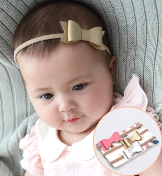 Neonato Fasce archetto in pelle Fascia elastica Bambini Accessori per capelli Bambini Carino Hairbands per le ragazze Nylon Bow Headwear KHA606