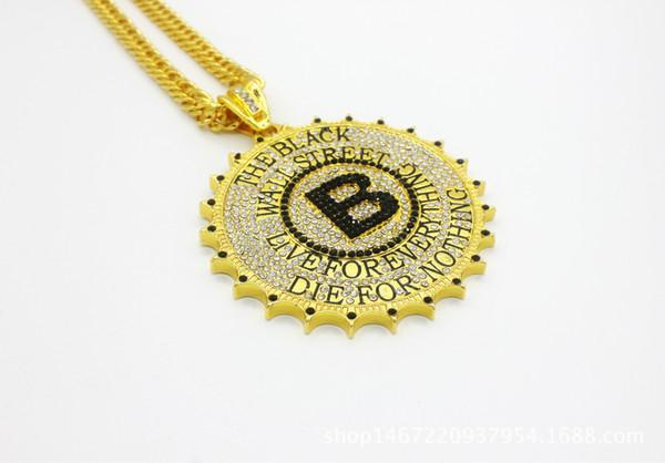 Rapçi Erkekler Moda Takı Black Wall Street Yüksek kalite 24K Altın / Gümüş Kaplama Kolye B Harf Hip Hop Yuvarlak Büyük Kolye