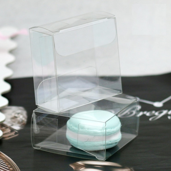 Free Shipping 5cm Clear PET Plastic Single Macaron Packing Box Bomboniere Wedding Favors Candy Boxes W7159