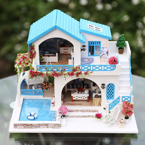 Precioso bricolaje hecho a mano Villa Dollhouse regalo de cumpleaños