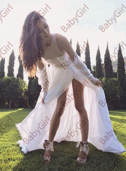 Custom made jewel chiffon Tiered Skirts Thigh High Slits backless Empire Wedding Dresses with sweep train