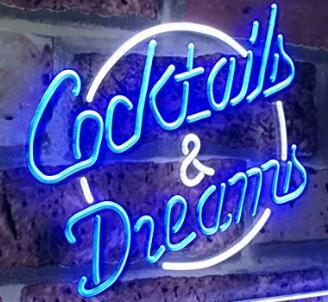 T5 Cocktails and dreams Sign DIY Glass LED Neon Sign Flex Rope Light Indoor/Outdoor Decoration RGB Voltage 110V-240V 17*14 inches
