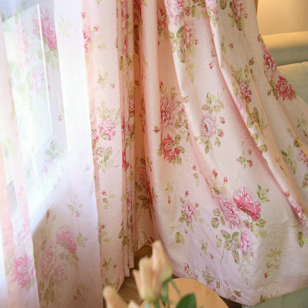 best selling Pastoral Pink Floral Curtains Semi Blackout Curtain Drapes for Living Room Bdroom Kitchen Romantic Roses Window Sheer Translucidus Tulle