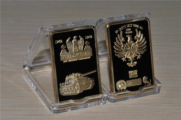 Alemão STALINGRAD tanque / águia WW2 banhado a ouro INGOT comemorativo / BAR em cápsula
