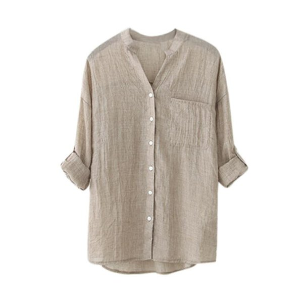 Coon Linen Shirt Plus size S-4XL Blouse Roll Up Three Quarter Sleeve Female Shirt Fashion Casual Ladies Clothing Camisa Mujer
