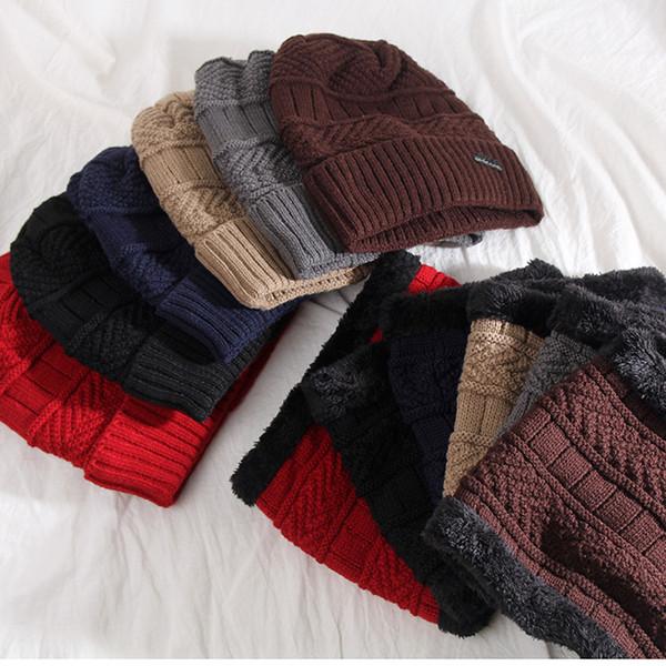 DHL 2-Pieces Winter Beanie Hat Scarf Set Warm Knit Hat Winter Man Hat Muffler Wool Line Knitting Wool Caps Adult Scarf Hats
