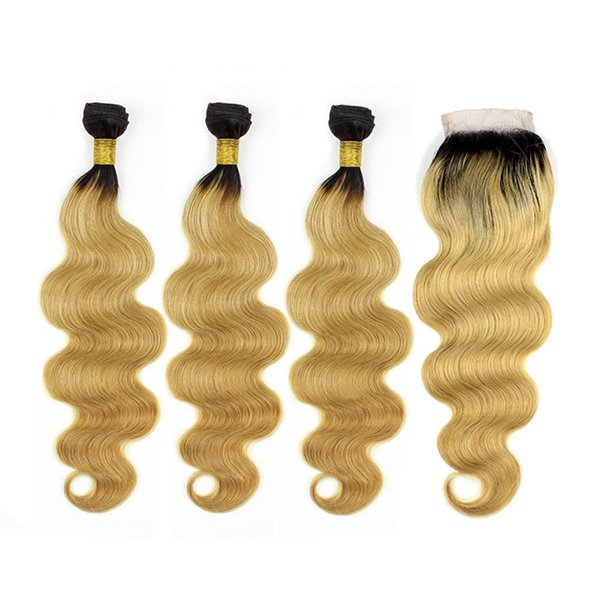 Malaysian Virgin Human Hair Strawberry Blonde Ombre Lace Closure With Bundles Dark Roots Body Wave Human Hair Extensions With Lace Closure