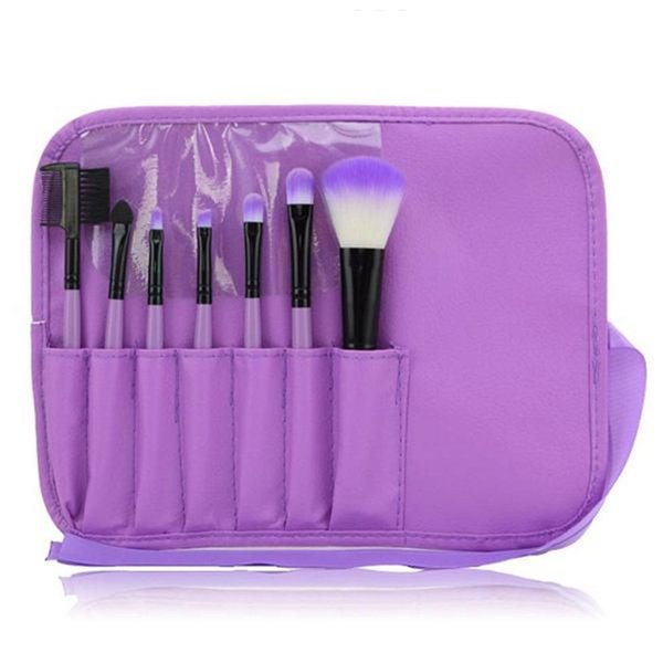 HOT Makeup Brushes Set Kits Eyelash Brush Blush Brush Eye-shadow Brush Sponge Sumudger 7pieces Make Up Tools PU Bag free shipping