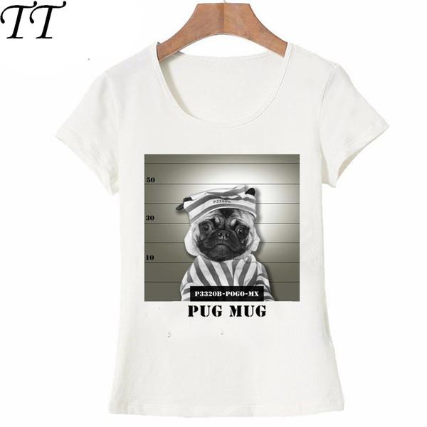 New summer novelty style Women's short sleeve Pug in hospital print T-Shirt fun bad dog design lady Tops cute girl Tees