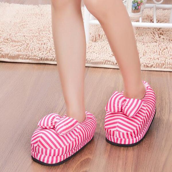 Güzel Kış Şerit Kadın Terlik Karikatür Terlik Kapalı Ev Ayakkabıları Papyon Loafer'lar Z281 Ile Sıcak Yetişkin Ayakkabı Peluş Pantufas