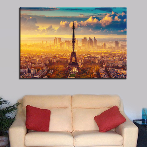 Canvas HD Prints Pictures Wall Art Living Room Home Decor Poster 1 Piece/Pcs Paris City Sunshine Tower View Paintings Framework