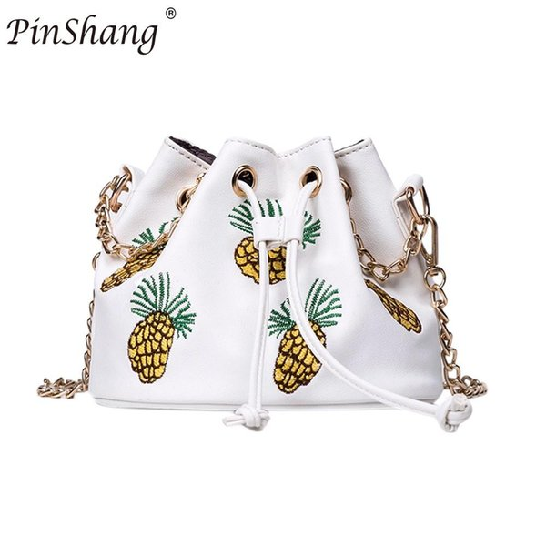 PinShang Women Fashion Shoulder Bag PU Leather Ethnic Pineapple Embroidery Buckle Bag Trendy Luxury Female Handbag NEW ZK30