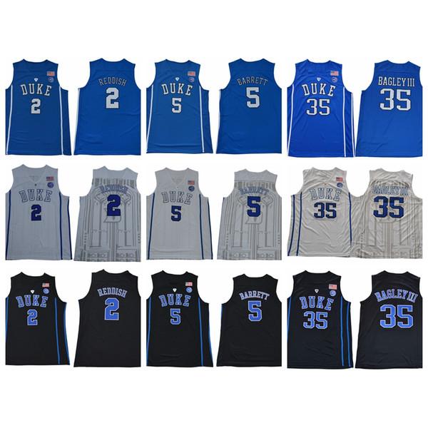 Mens Youth Duke Blue Devils #1 Zion Williamson Jerseys Kids #5 RJ Barrett Jersey Boys #2 Cam Reddish College Basketball Jersey Stitched Loog