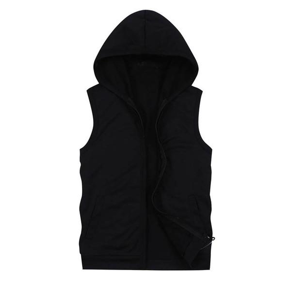 Mens Sleeveless Top Schwarz Hoodies mit Taschen Mode lässig mit Kapuze Sweatshirt Männer Hip Hop Hoodie Herren Sportswear