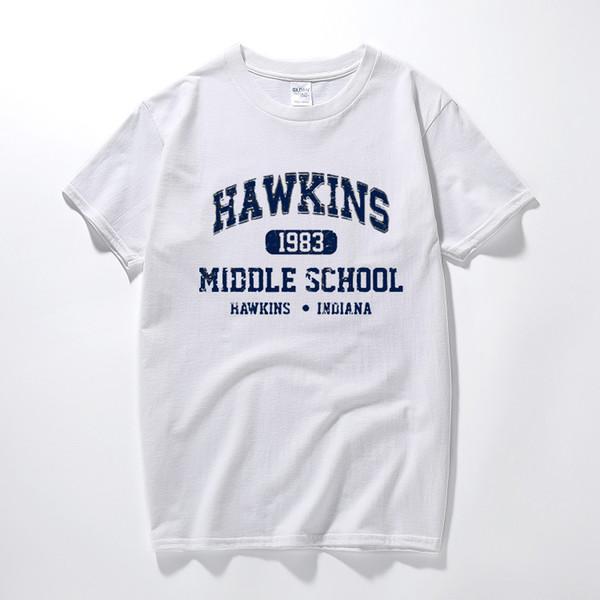 Coisas estranhas Camisetas Retro Design de Alta Qualidade Hawkins Escola Algodão de Manga Curta T Camisa Homme Hom ...