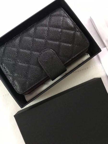 Famous fashion brand women's clasp purse high quality caviar gold and silver metal mini passport hand bag
