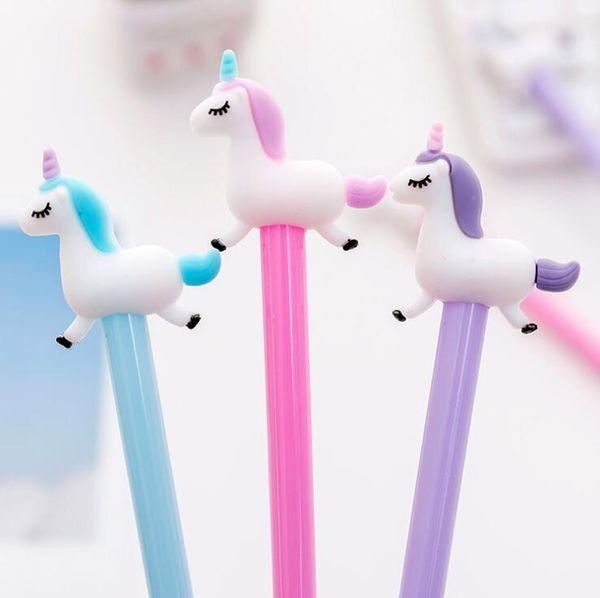 top popular 0.38 mm Black Ink Jumping Unicorn Gel Pen Signature Pen Escolar Papelaria School Office Supply Promotional Gift 2019