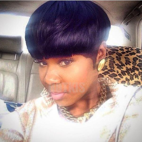 Parrucche corte 100% capelli umani HOTKIS Parrucche nere tagliate corte per parrucche a pelo corto per donne nere