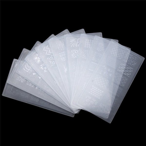 10Pcs/Lot Nail Art Stamping Plate Template Plastic Print Transfer Stencil Nail Template Stamping UV Gel Set Manicure Tool