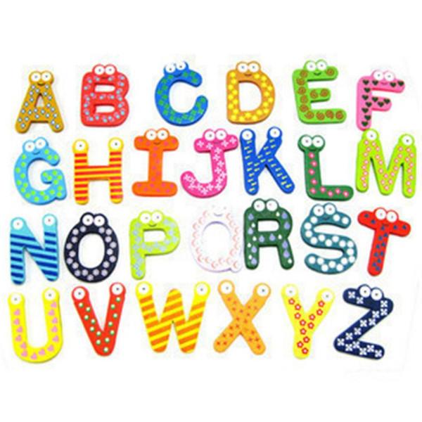 2018 Cartoon Fridge Magnet Frigorifero Giocattoli per bambini 26pcs Lettere Bambini Legno alfabeto Magnete frigo Bambino educativo psw0711