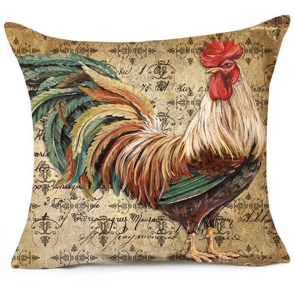 Country Cock Watercolor Painting Cushion Covers Vintage Style Good Life 45X45cm Sofa Decorative Linen Pillow Case Chair Seat Decor