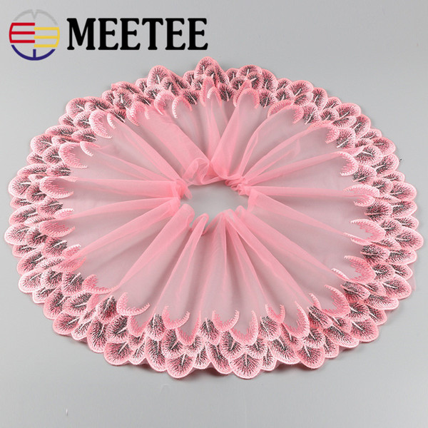 Meetee Width 20cm Lace Trims Embroidery Peacock Phoenix tail feathers Net Lace Fabric Mesh Tulle Guipure Cord Lace Sewing DIY Doll Cloth