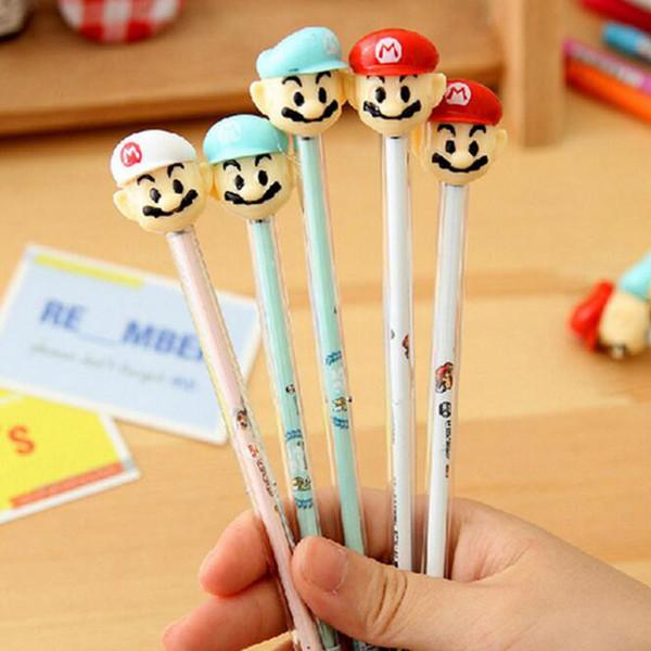 (4 piece/lot)Free Shipping Cute Mario Gel Pen Black Ink Pen Wedding Party Sign the pen Supplies Super Mario Gift For Kid