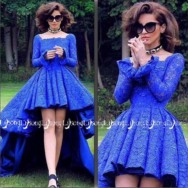 Royal Blue Lace High-low Prom Dress High Quality Long Sleeves Long Back Short Front Formal Evening Dresses Maxi Gown Vestidos de Festa 2018