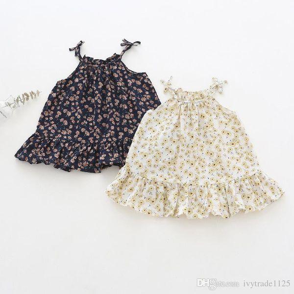 Girl Clothes summer Suspender girl Dresses Kids Boutique Clothing full little floral print Girls Sleeveless Dresses