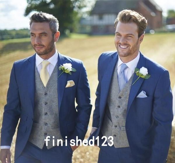 Haute Qualité Un Bouton Bleu Smokings Marié Sommet Lapel Garçons Meilleur Homme Costumes Hommes Costumes De Mariage (Veste + Pantalon + Gilet + Cravate) NO: 1220