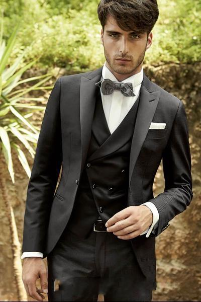 New Style Black Slim Fit 3 Piece Suit Men Wedding Tuxedos Excellent Groom Tuxedos Men Business Dinner Prom Blazer(Jacket+Pants+Tie+Vest) 878