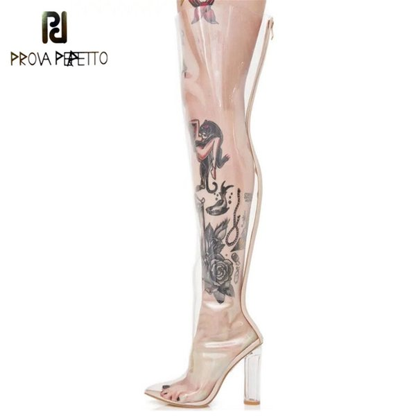 Prova Perfetto New Sexy Pvc Clear Rain Boots Pointed Toe Crystal High Heels Over The Knee Boots Transparent Shoes Woman Size 48
