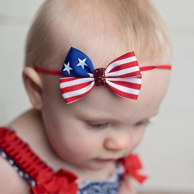 3 '' Crianças Meninas Do Bebê Headbands Star Blue Red Stripe Imprimir Arcos de cabelo Indepence Day Acessórios Para o Cabelo com Fita Elástica Hairband