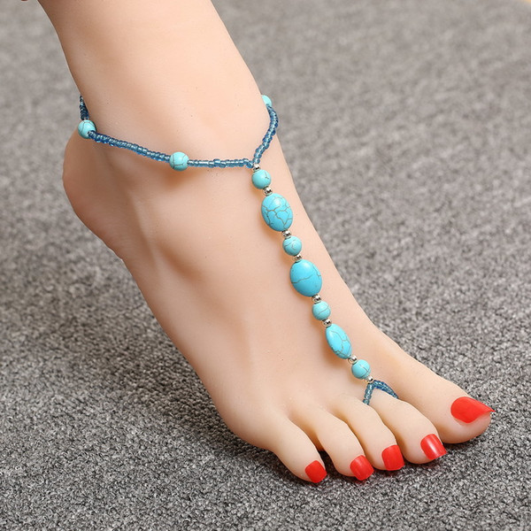 New Fashion Natural Stone Anklet Ankle Foot Bracelet Barefoot Sandals Anklets Women summer Jwewlry