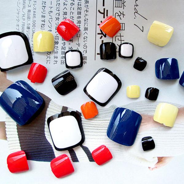24Pcs Fashion False Fake Toe Nails Tips Punta strumento Nail Art per vacanze estive J42