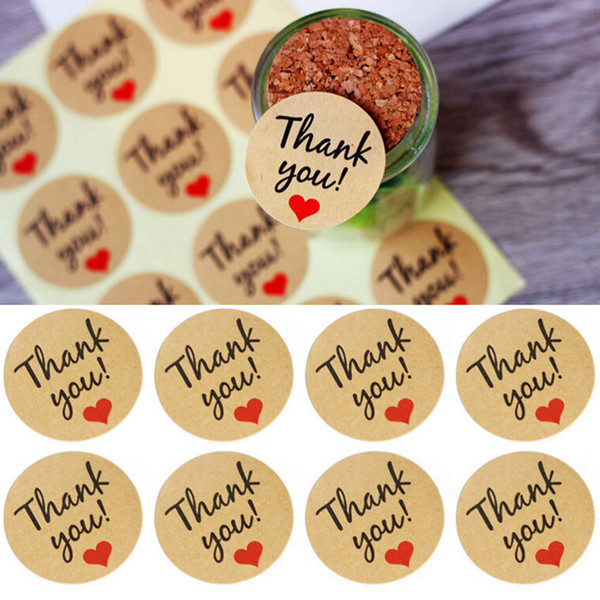 60 Pcs Candy paper tags/Thank You love self-adhesive stickers kraft label sticker For Candy Boxes DIY Hand Made Gift Cake