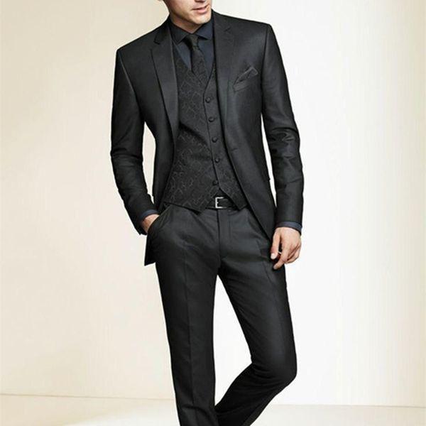 2018 Custom Made New Groom Tuxedos Notch Lapel Men Suit Black Groomsman Wedding Prom Suits for men (Jacket+Pants+Tie+Vest)
