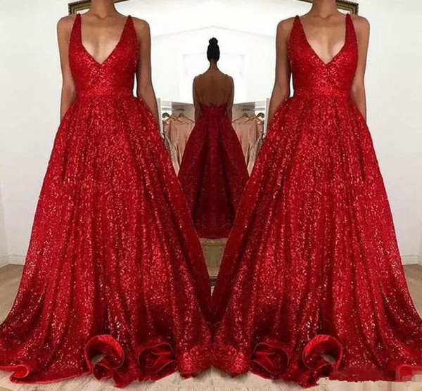 Sexy Red Sparkly Sequined Prom Dresses 2018 modest Long Deep V-Neck Sleeveless Backless A Line Cheap Evening Party Gowns