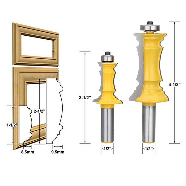 "Woodworking Milling Cutter Router Bit Set 1/2"" Shank Mitered Door & Drawer Panel Molding Router Bit Set(2Pcs)"