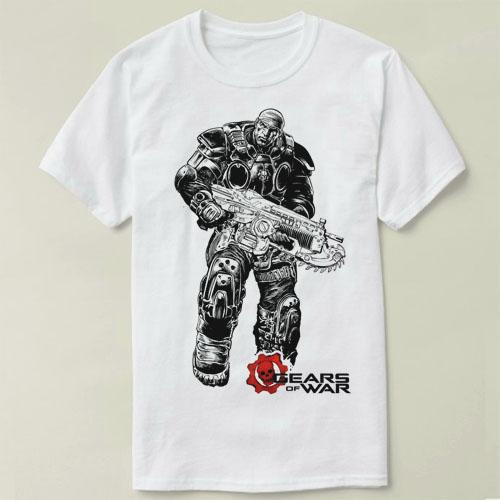 Marcus Gears of War 100% cotton print casual mens o-neck t shirts fashion men's tops men T-shirt short sleeve men tshirt cmt