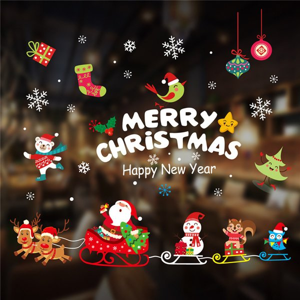 Weihnachtsaufkleberglasfensteraufkleberdekorationsschneeflockenrotwild ältere Aufkleber en gros 70CM * 50CM